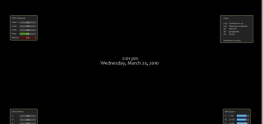 Screensaver sa informacijama o sistemu