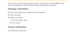 [Twitter] SMS obaveštenja za nove pratioce, retweet i fav